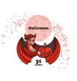 a vampire woman is holding pumpkin vector image