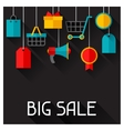 Background with sale and shopping icons in flat vector image vector image