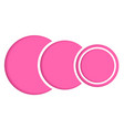 basic rgbpink paper circles lined up on a white ba vector image