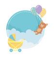 bastroller and teddy bear design vector image vector image