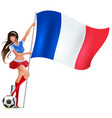 beautiful fan teen girl holding french flag vector image