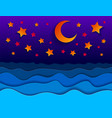 beautiful night seascape in paper cut style curvy vector image