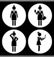 black and white set businesswomen avatar in vector image vector image