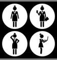 black and white set businesswomen avatar vector image vector image