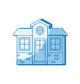 blue shading silhouette of small house facade vector image