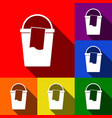 bucket and a rag sign set of icons with vector image
