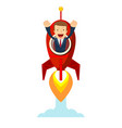 businessman in a rocket business start up concept vector image vector image