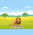 cartoon lion mascot landscapes vector image vector image
