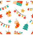 christmas seamless pattern with festive symbols vector image vector image