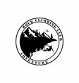 circle mountain climbing black and white logo vector image