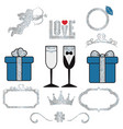 collection of wedding objects collection vector image vector image