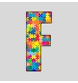 Color Puzzle Piece Jigsaw Letter - F vector image vector image