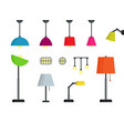 colorful lamps set vector image