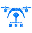 copter distribution scheme grunge icon vector image vector image