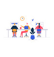coworking space - flat design style colorful vector image