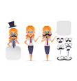 cute girl character with glasses various shape vector image vector image