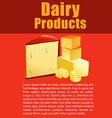 Dairy products with cheese and text vector image vector image