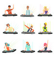 dj characters male and female party musicians in vector image vector image