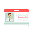 female logopedist medical specialist badge vector image