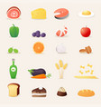 food icons realistic vector image vector image