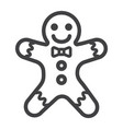 gingerbread man line icon new year and christmas vector image