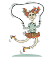 girl playing with a skipping rope isolated on vector image