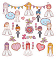girls and boys couple marriage celebration vector image vector image