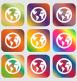 Globe icon sign Nine buttons with bright gradients vector image