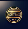 Golden money back guarantee label design
