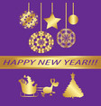 greeting card merry christmas vintage gold vector image