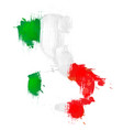 grunge map italy with italian flag vector image
