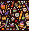 halloween seamless sweet pattern with cute candies vector image vector image
