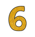 hand drawn golden number 6 isolated on white vector image vector image