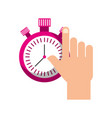 hand holding chronometer control countdown image vector image vector image