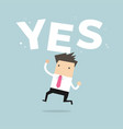 happy businessman jumping with word yes vector image vector image