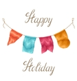 happy holiday greeting card with garland flags vector image vector image