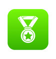 hockey champion medal icon green vector image