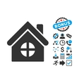 House Building Flat Icon with Bonus vector image