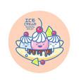 ice cream banana split chocolate lime cherry vector image vector image
