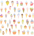 Ice cream set funny design - hand drawn vector image vector image