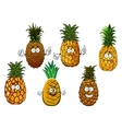 Juicy pineapple fruits cartoon characters vector image vector image