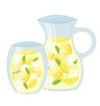 lemonade in glass cup and pitcher cartoon icon vector image vector image