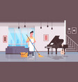 man in gloves and apron washing floor guy using vector image vector image