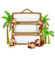 monkey with signboard on white background vector image vector image