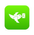 pigeon fly with mail icon digital green vector image vector image