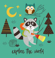 poster raccoon explores forest at night vector image vector image