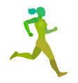 running woman jogging girl abstract vector image