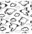 seamless pattern with birds and cloudsbackground vector image vector image
