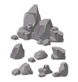 set of rocks and stones grey vector image