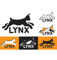 silhouette running lynx symbol vector image vector image